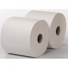 2-laags Maxirol poetsrol, 350 m x 25 cm, cellulose, wit